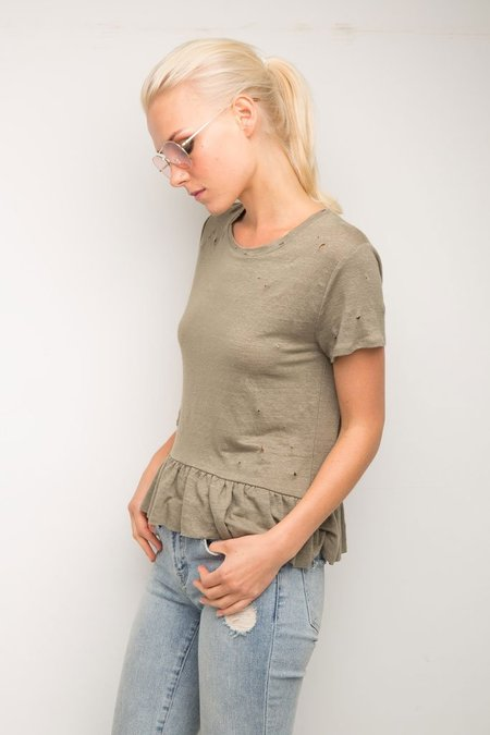 Generation Love Athena Ruffle S/S Top - Army Green