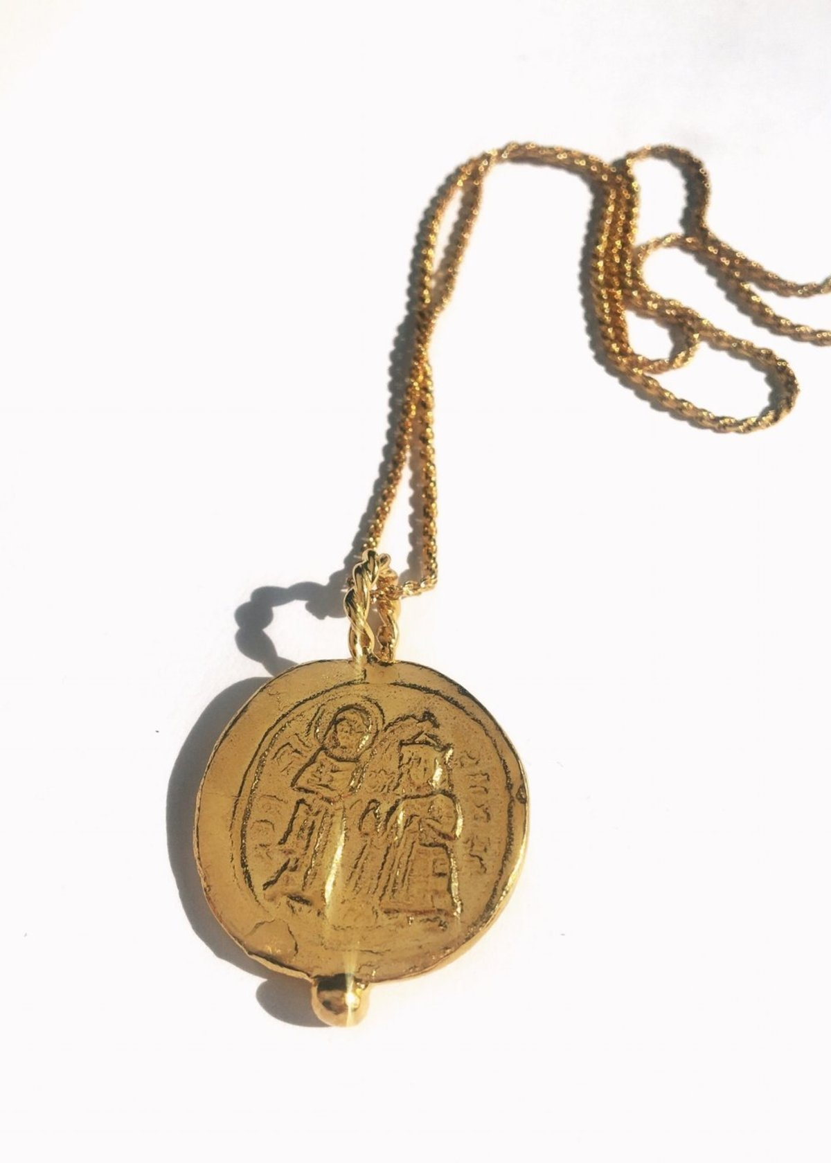 medallion lion tone us large necklaces on necklace lxrandco plated gold chanel brass en