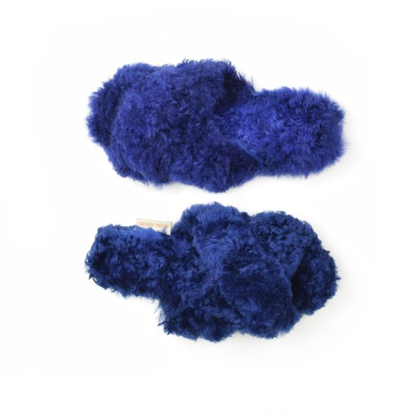 Ariana Bohling Criss Cross Alpaca Slipper Royal Blue
