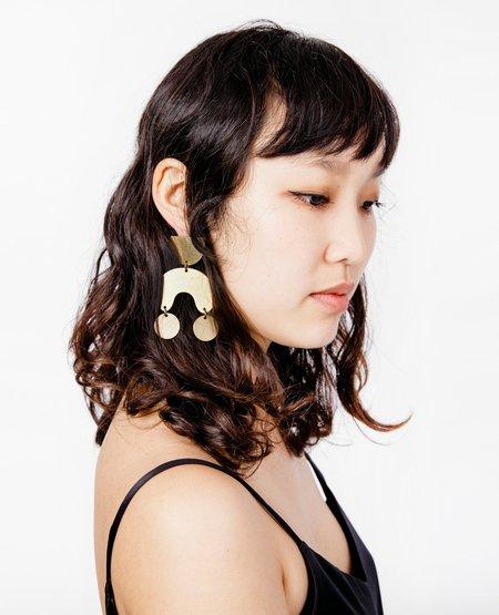 Modern Weaving Moon Dancer Earrings - Matte Brass