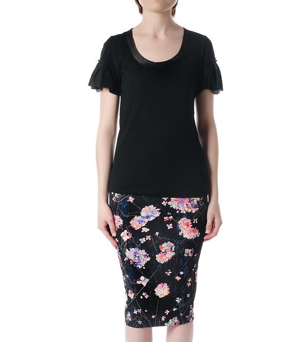 Sacai Luck Black T-Shirt with Ruffle Sleeves