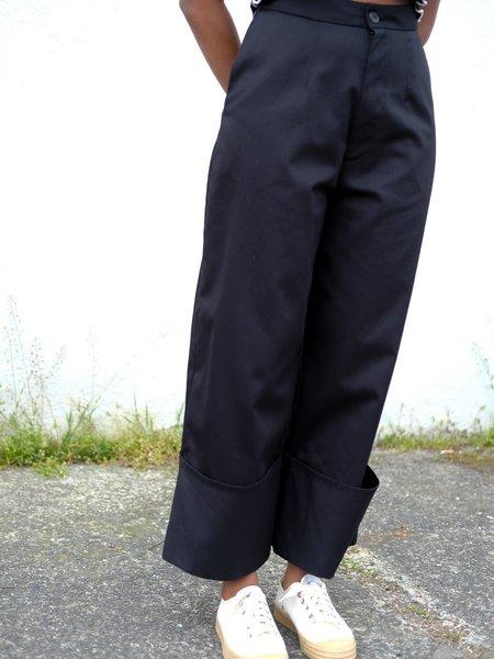 Wolcott : Takemoto Georgia Cuff Pant - Black Twill