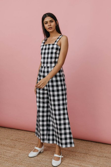Wolcott : Takemoto Kate Jumpsuit In Black Gingham