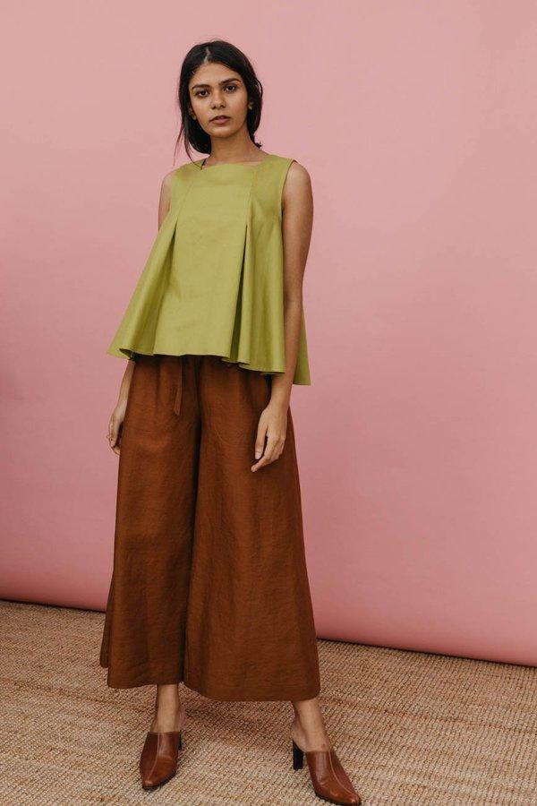 Wolcott : Takemoto Yayoi Pant in Brown Linen