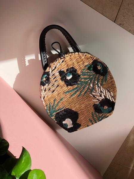 Aranaz Rosario Raffia and Straw Embroidered Round bag