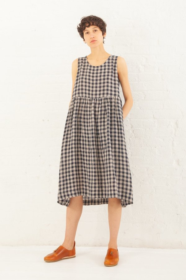 Ichi Antiquités Linen Gingham OP Dress in Navy