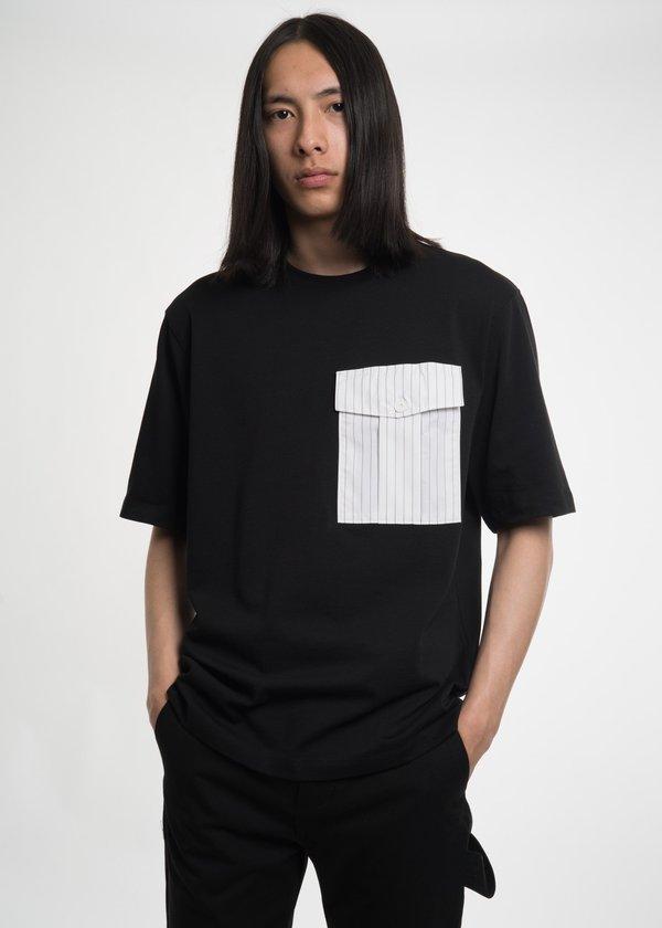 Helmut Lang Pinstripe Pocket T-Shirt - Black