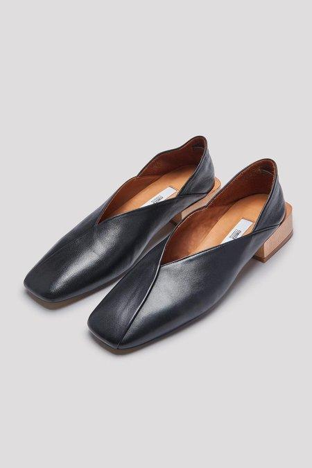 Miista Alma Black Leather Flats
