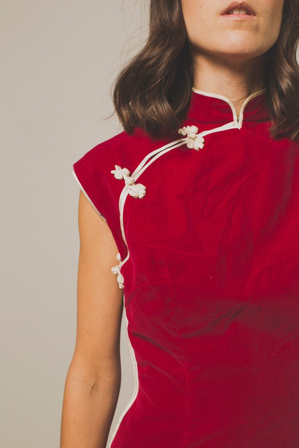 Preservation Cranberry Velvet Embroidered Asian Dress - Red