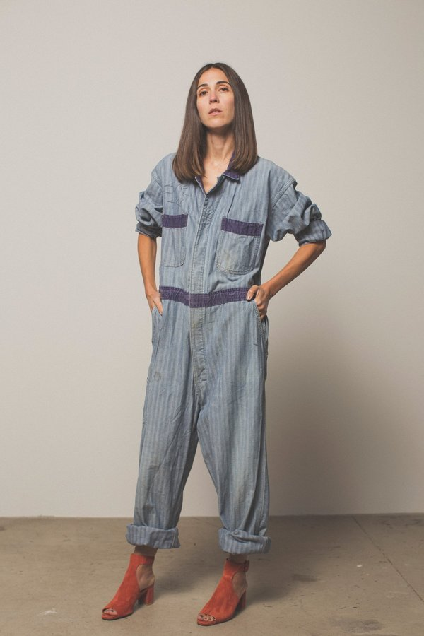Preservation Vintage Striped Coverall Jumpsuit
