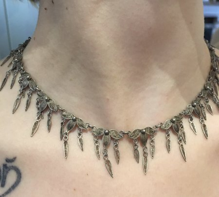 KC Antique Silverplate Festoon Choker
