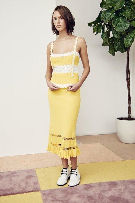 Edun Herringbone Cotton Midi Skirt - Yellow