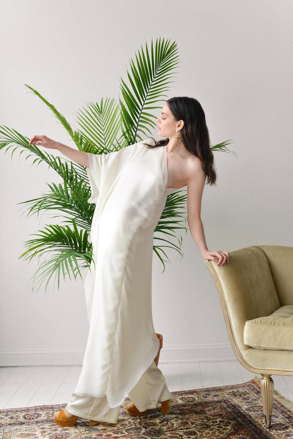 Aurora Vestita Dharma Asymmetrical Dress - Coconut White