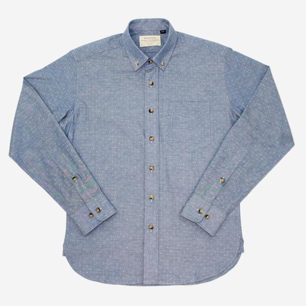 Kovalum Martin Long-Sleeve Shirt - Light Blue Dot Chambray