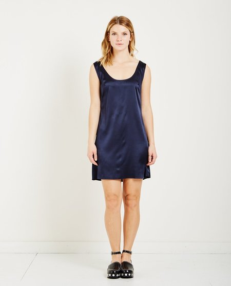 Suzanne Rae STRETCH CHARMEUSE DRESS - NAVY