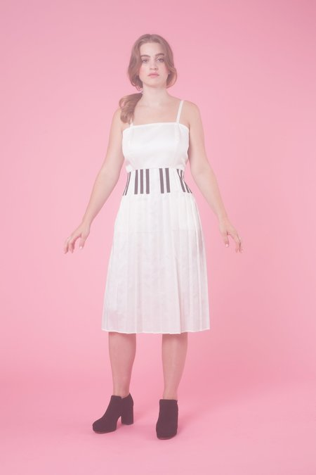 Samantha Pleet Grand Piano Skirt in White With Black Keys
