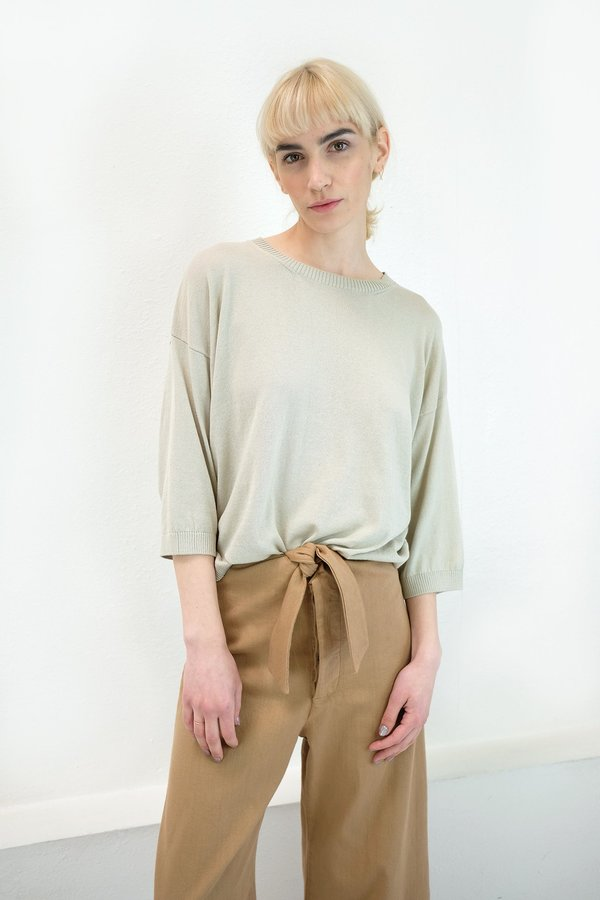 Micaela Greg Fine Knit Tee in Sea Salt