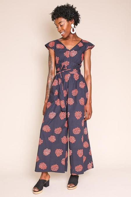 No.6 Diana Wrap Jumpsuit in Black/Poppy Hydrangea