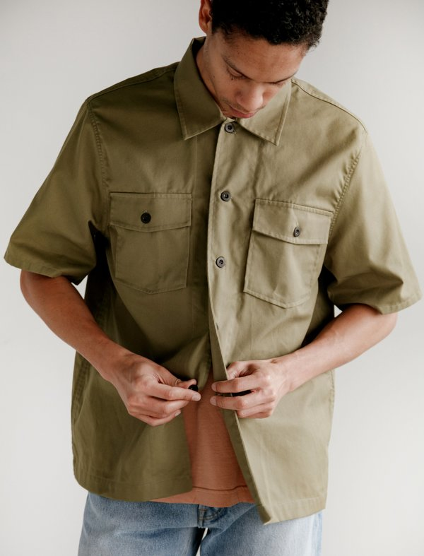 Our Legacy Chamois Short Sleeve Shirt - Olive Tactic