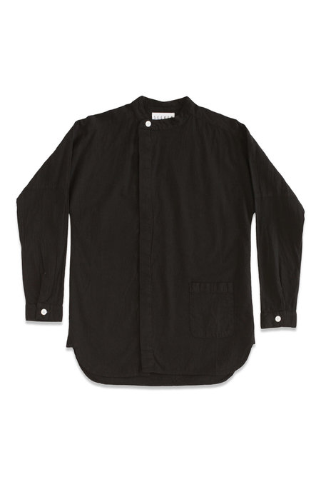 Unisex Seeker Asymmetrical Button Up Shirt - Black