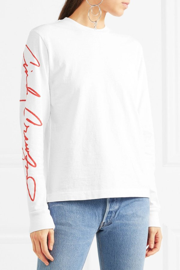 Re/Done Cindy Crawford Beefy Printed Long Sleeve T-Shirt