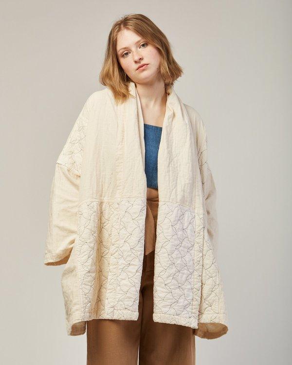 Atelier Delphine Haori Coat Quilted In Kinari White
