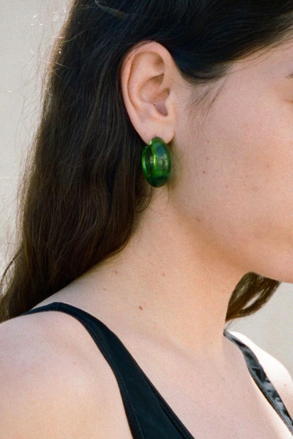 Vintage Lucite Hoops Earrings - Green