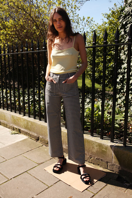 SIDE PARTY Dare Gingham Pants - Black and White Gingham