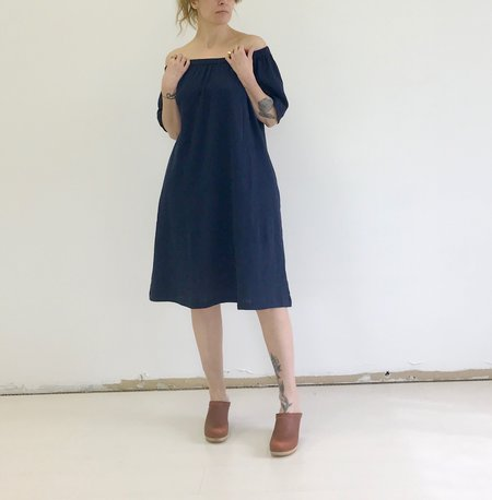 Sunja Link Gathered Neck Dress - Navy
