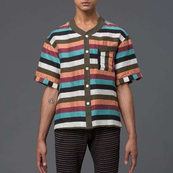 Thaddeus O'Neil Striped Beach Shirt
