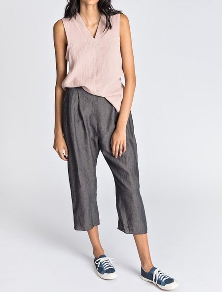 Pillar Clam Cropped Loose Pants - Charcoal
