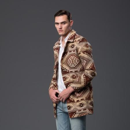 ADAM MAR Mountain Jacquard Baja Trench Coat