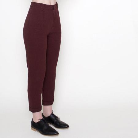 7115 Szeki 7115 by Szeki Linen Cropped Trousers - Maroon