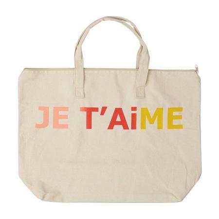 Atsuyo Et Akiko Canvas Bag With Zipper Je T'aime - Natural