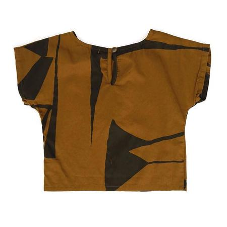 Kids Black Crane Cotton Box Tshirt - Black and Teak