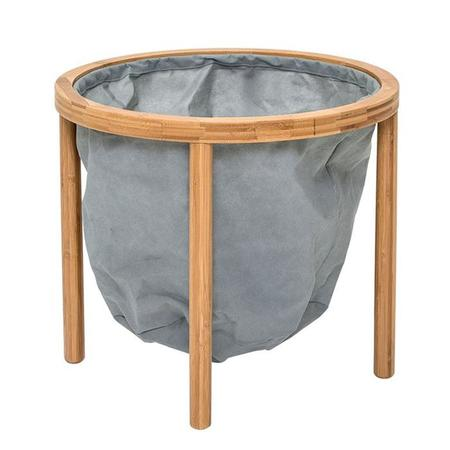 Bloomingville Bamboo Emily Side Table With Grey Fabric Storage Bin