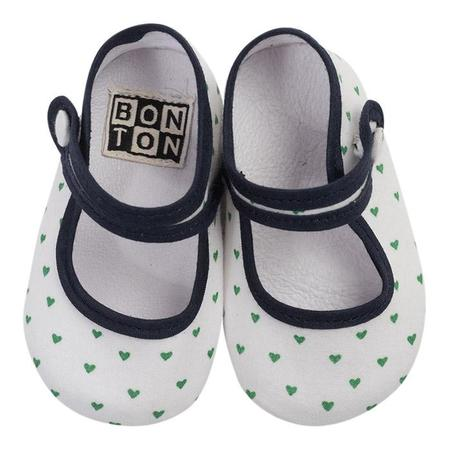 KIDS Bonton Baby Cotton Slippers - Green Heart
