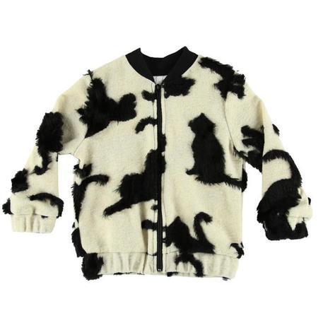 Kids Caroline Bosmans Faux Fur Zip Up Bomber Jacket - Cat