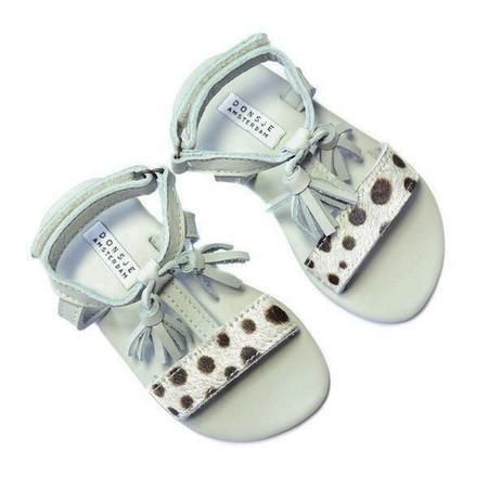 Kids Donsje Alice Leather Sandal - Light Grey Dalmation Black