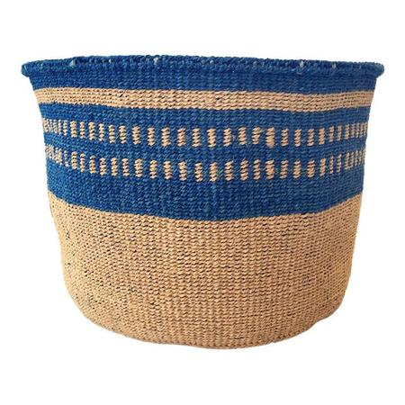 Far & Wide Collective Medium Hand Woven Basket - Thin Navy Stripe