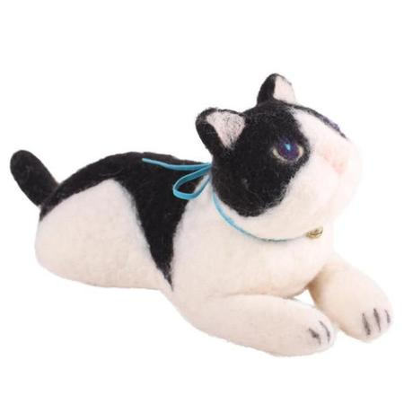 Kids Mido's Tail Hand Felted Kitten Laying Down