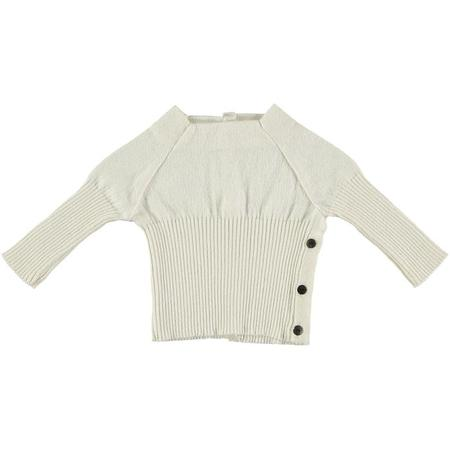 Kids Pequeno Tocon Long Sleeved Rib Knit Sweater - Cream