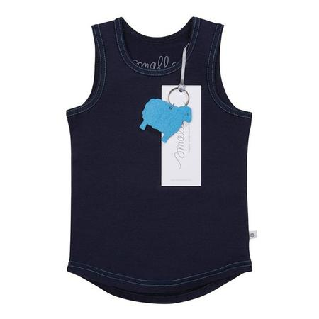 Kids Smalls Vest Top - Navy With Blue Stitch