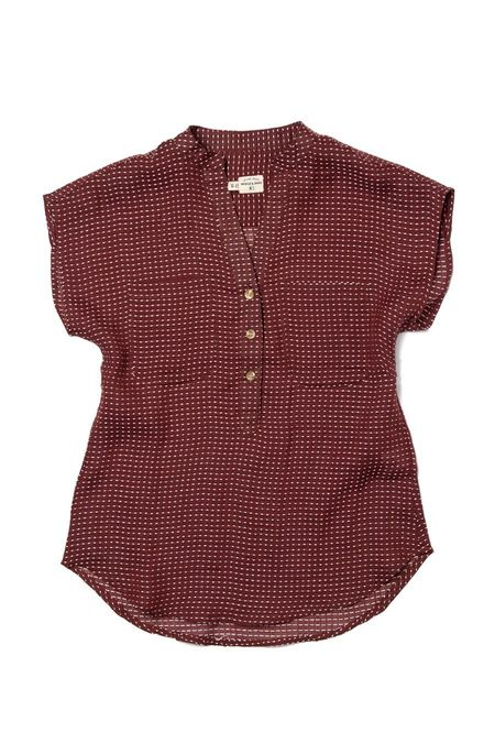 Bridge & Burn Ladd BLOUSE - Clay Red Dashes