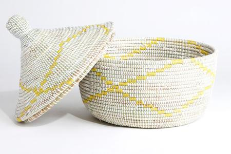 Swahili Modern Yellow Garland Large Storage Basket - White