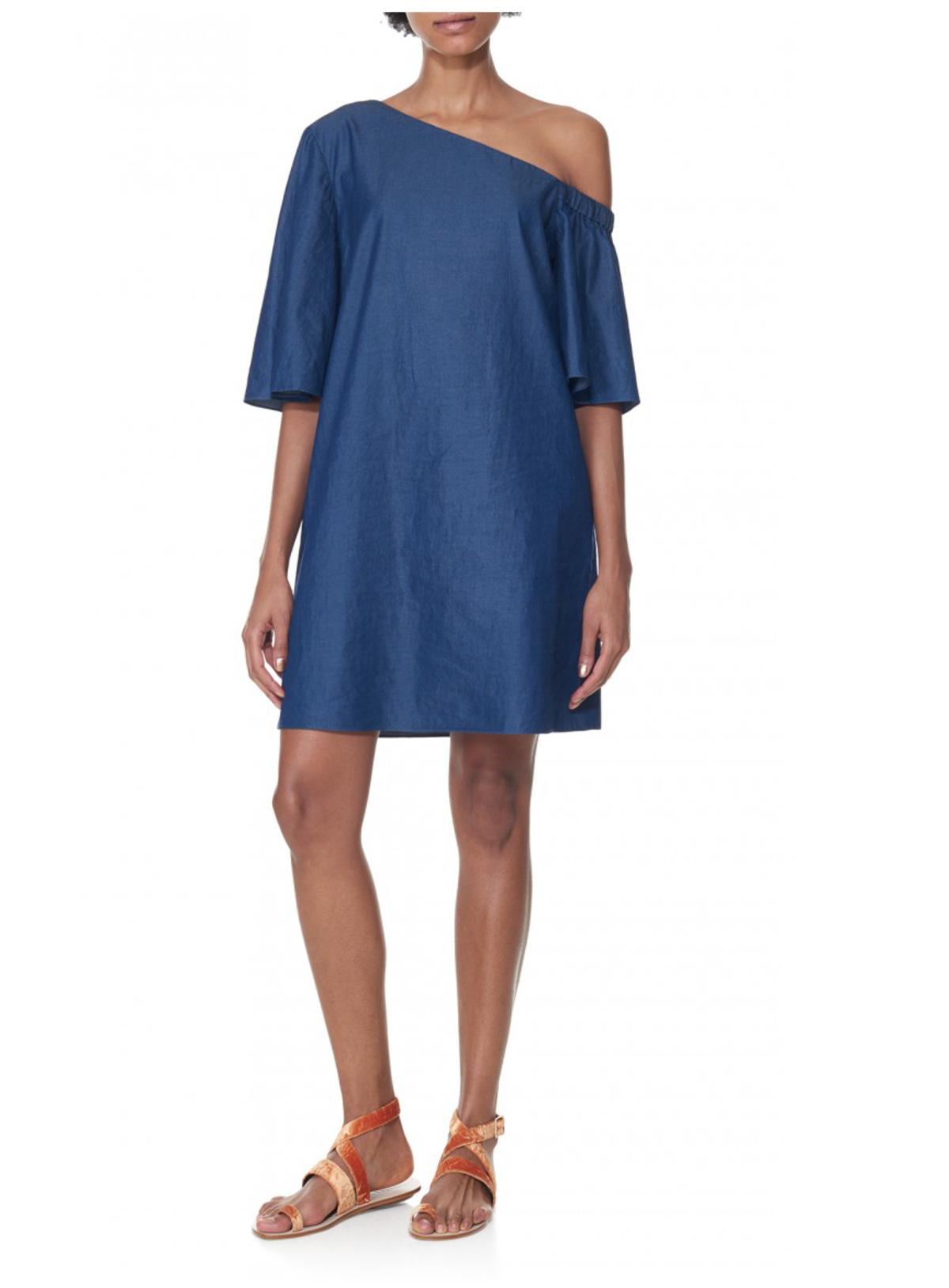c93af5b128 Tibi One Shoulder Dress - Denim