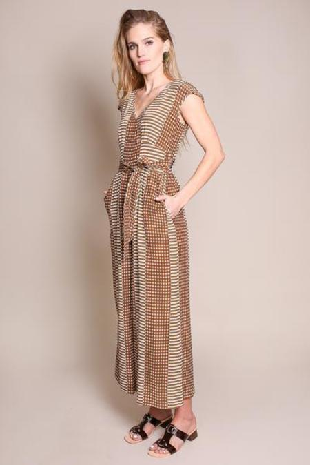 No.6 Diana Wrap Jumpsuit - COFFEE/CREAM