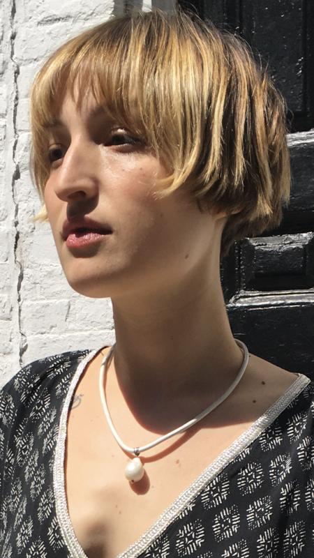 Mckenzie Liautaud Leather Choker with Pearl Pendant