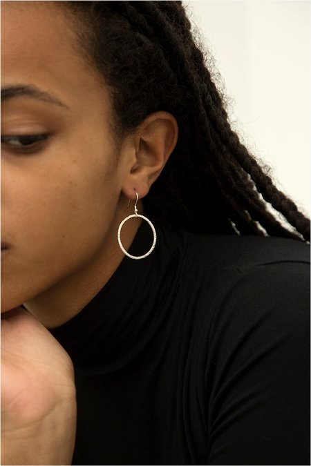 Alice Chandler Hammered Drop Hoop Earrings - Sterling Silver