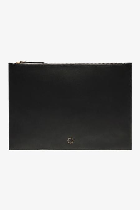 anna walker london oban veg-tan leather pouch - BLACK